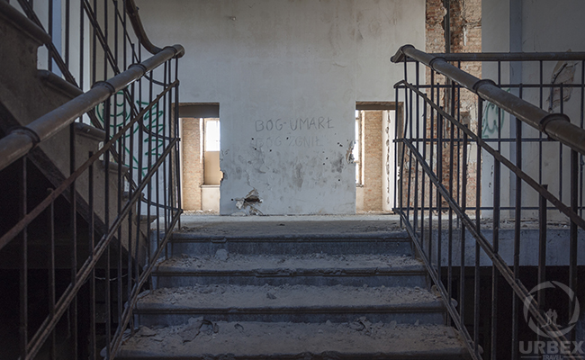 stairs in an abandoned hospital