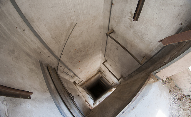 elevator shaft in abandoned uniontex factory