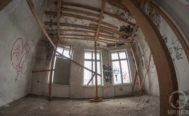 decayed room in an abandoned tenement house
