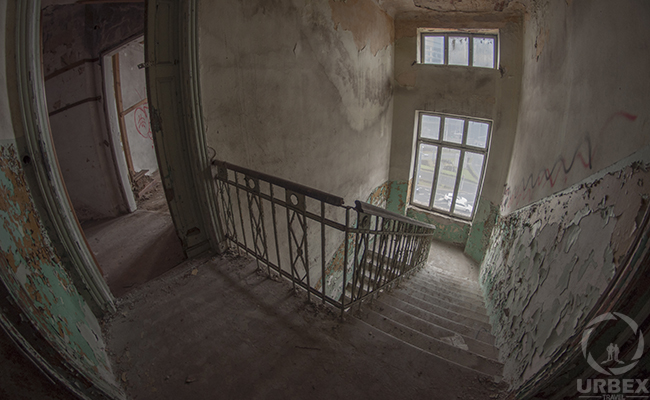 urbex staircase in an abandoned building