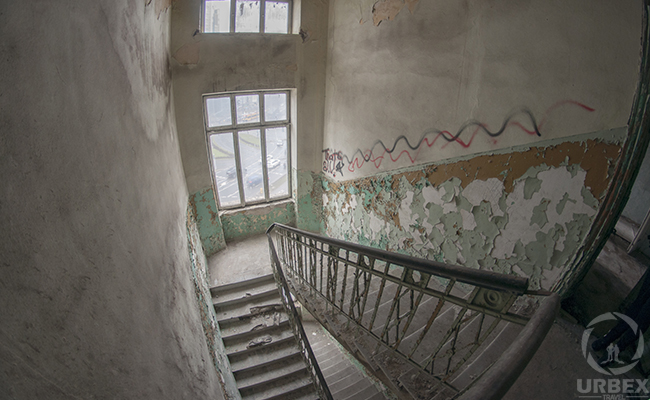 staircase in an abandoned building
