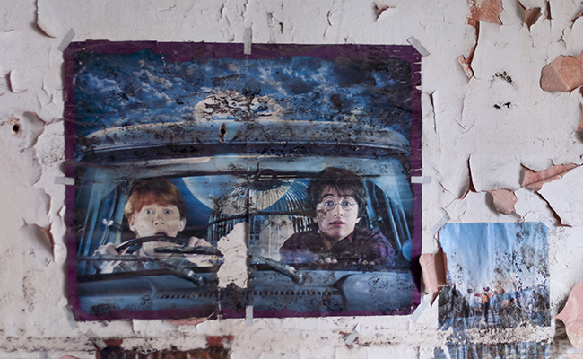 Harry Potter poster in an abandoned house