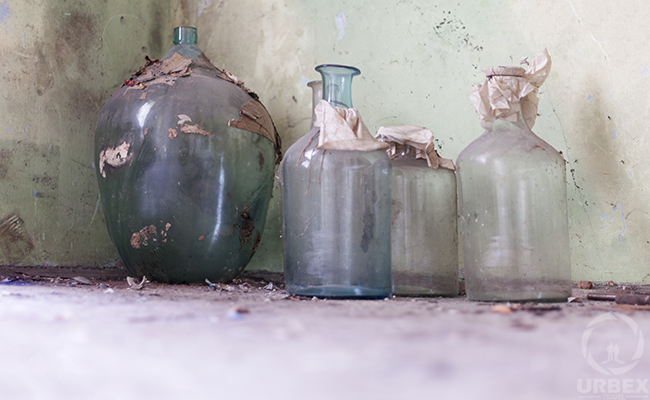 empty bottles in an abandoned building