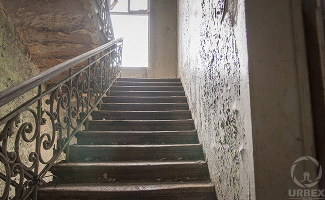 staircase in an abandoned tement house