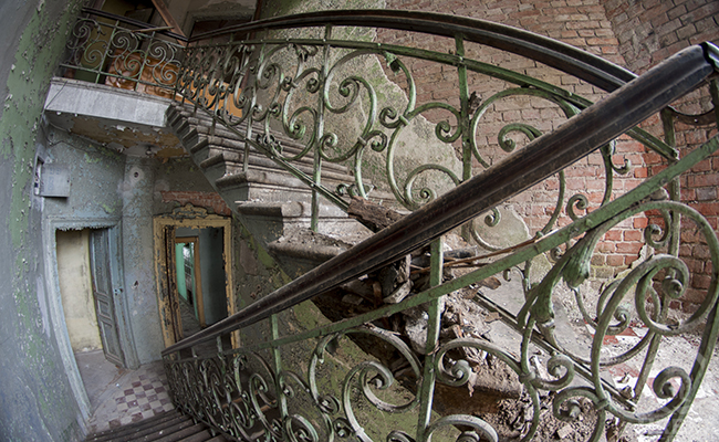 staircase in an abandoned tenement house