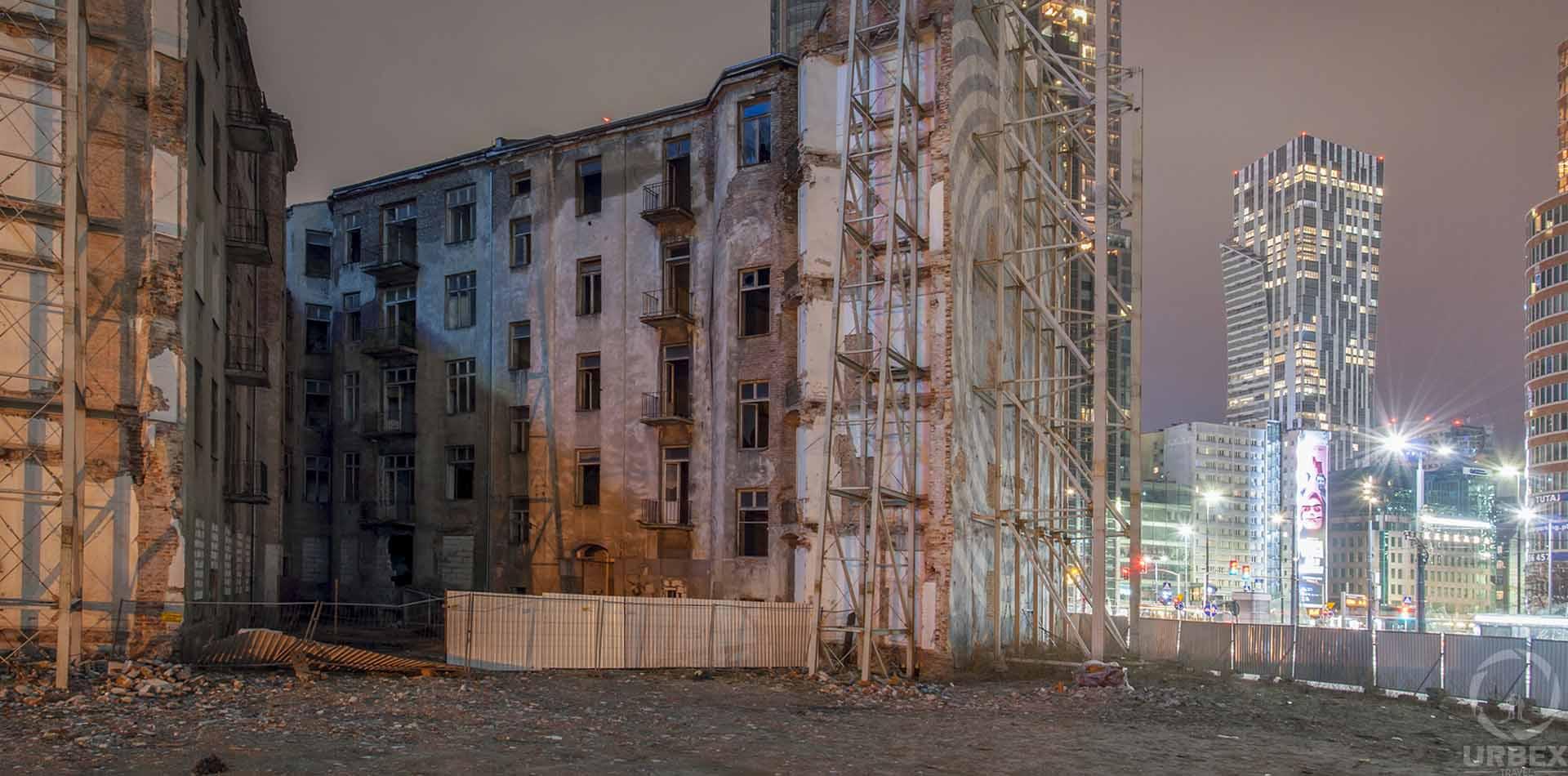 Abandoned Jewish Tenemet House Warsaw at night