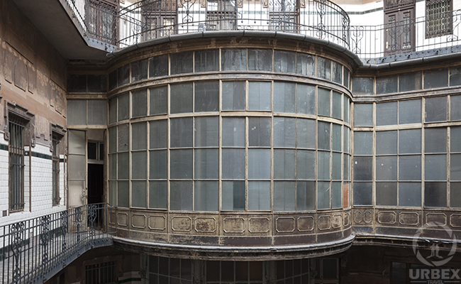 glass balcony in an abandoned palace in hungary