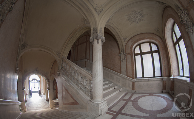 marble stairs in an abandoned palace