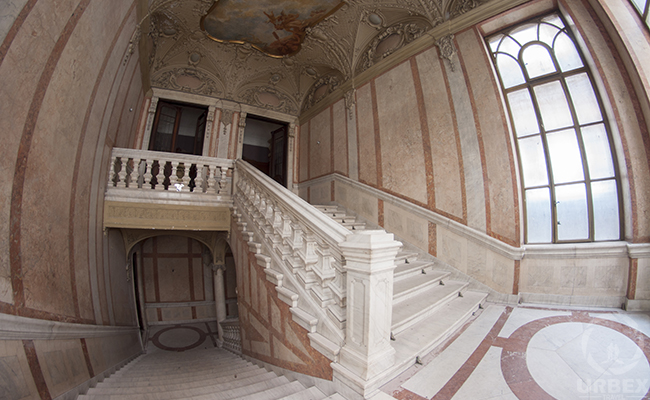 marble staircase in an abandoned palace
