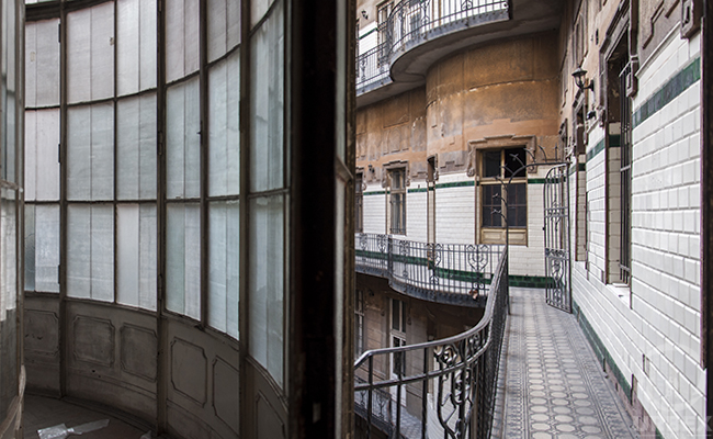 courtyard in abandoned chateau in budapest