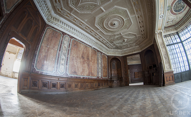 living room in an abandoned palace