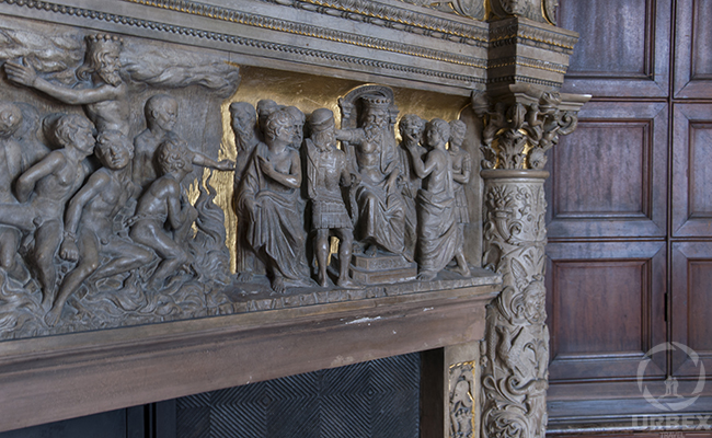 fireplace bas-reliefs in an abandoned palace