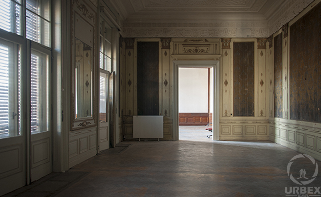 ballroom in an abandoned palace