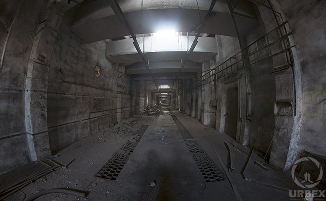 a corridor in abandoned power plant