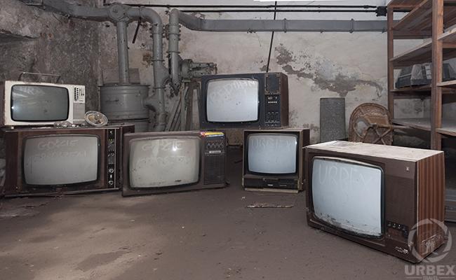 TV in abandoned shelter
