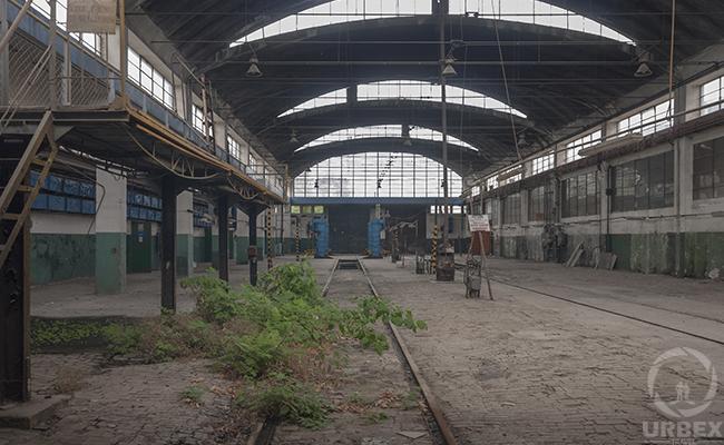 abandoned train repair hall