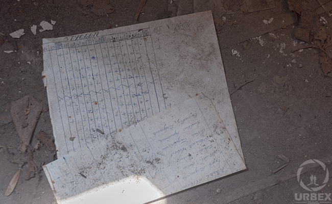 school documents in abandoned palace