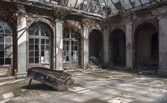 patio in abandoned mansion