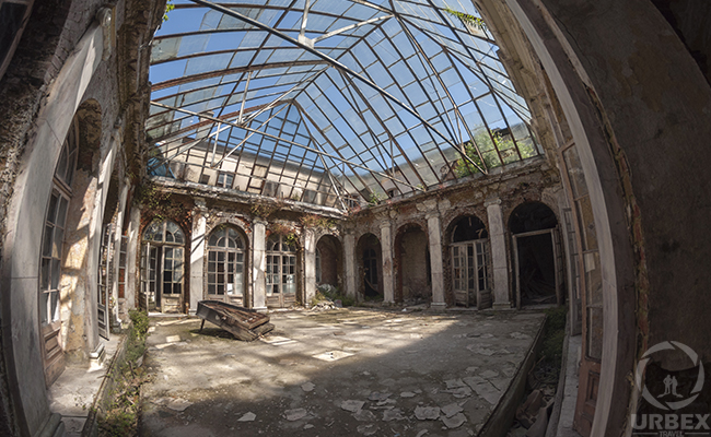 a suny patio in an abandoned palace