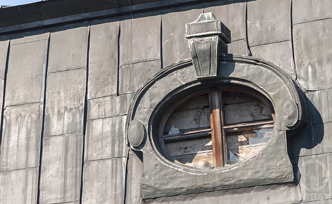 windows of abandoned palace in poland