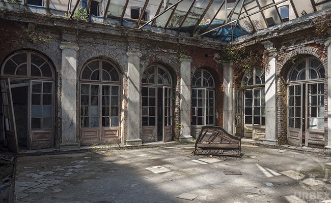 colonnade in an abandoned palace