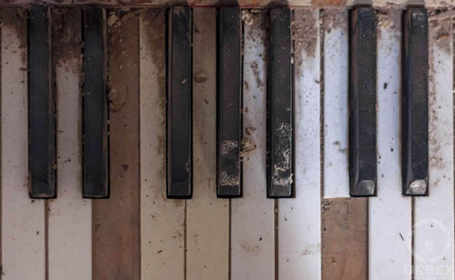 piano keys in an abandoned palace