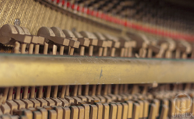 old piano hammers in an abandoned palace
