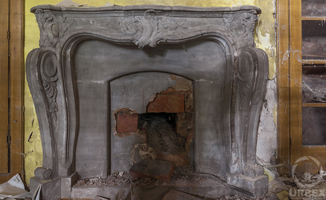fireplace in an abandoned palace