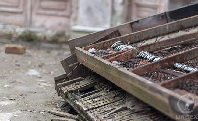forgotten piano in abandoned mansion