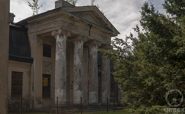 front of an abandoned palace