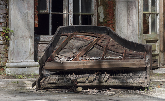 piano in abandoned patio in poland