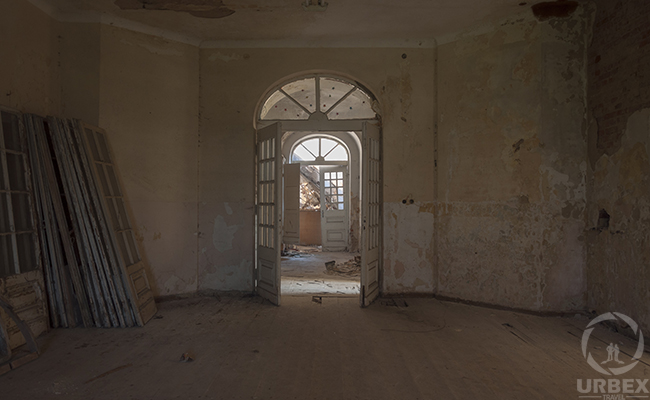 hall in abandoned palace