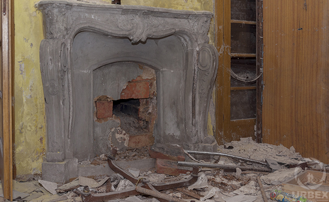 fire place in abandoned palace