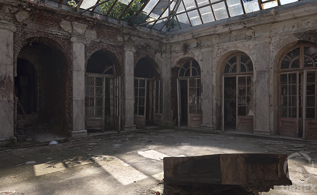 patio in abandoned mansion in bratoszewice