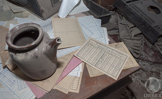 old documents in abandoned palace