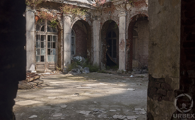 patio of abandoned mansion