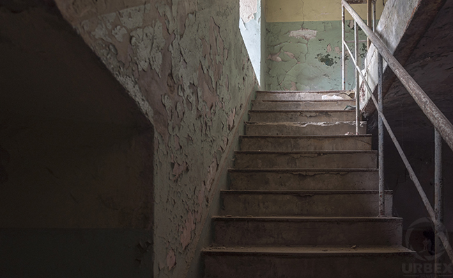 stairs in forgotten factory in europe