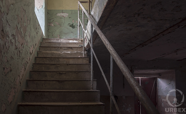 stairs in forgotten factory in poland