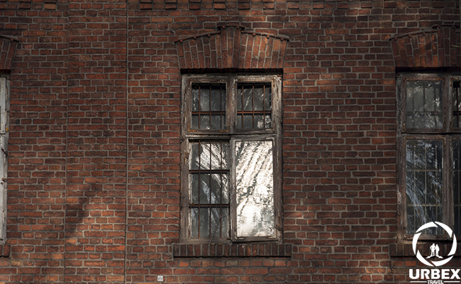 brocken window of abandoned factory