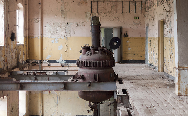 an old reactor in a forgotten factory