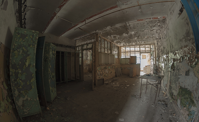 old laboratory in abandoned factory
