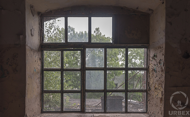 brocken window of pollena factory in warsaw