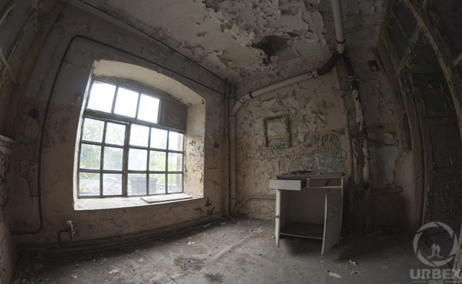 inside austere abandoned building