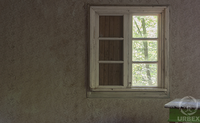 window in an abandoned house in europe