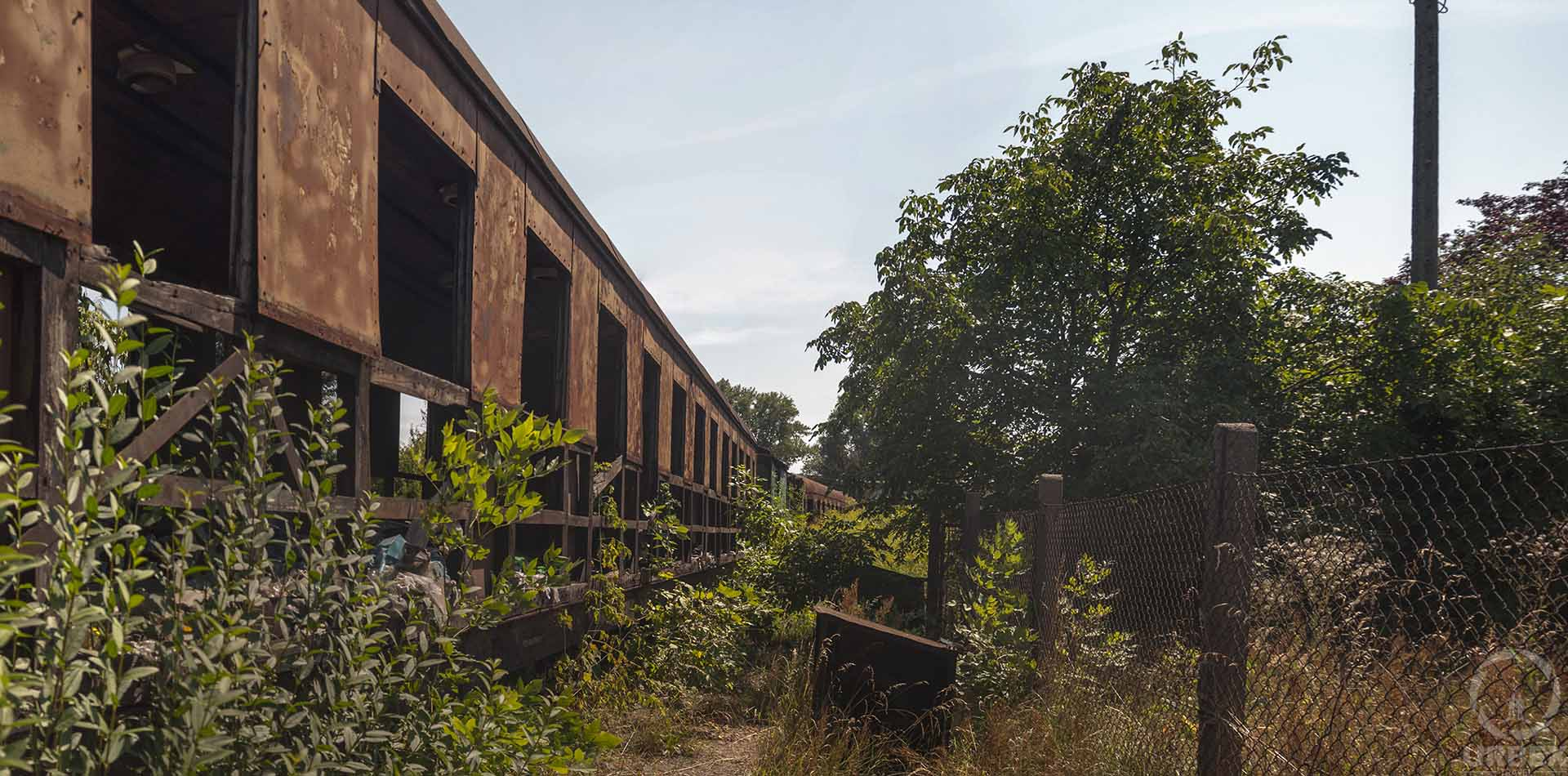 a graveyard of old trains in Poland