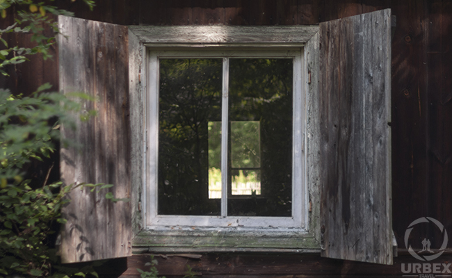 windows in an abandoned house