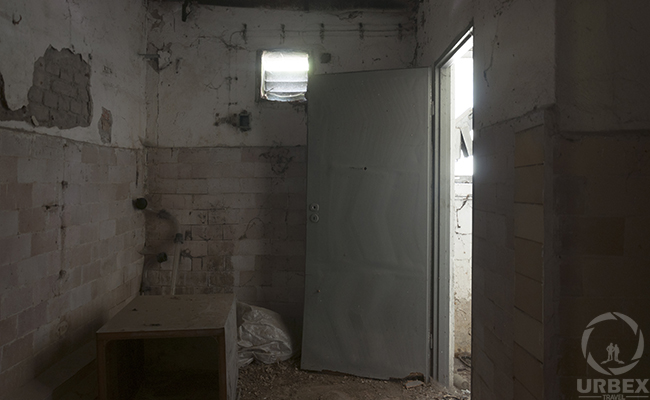 the door are open in an abandoned building