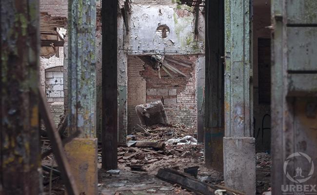 abandoned brick building concrete trim work