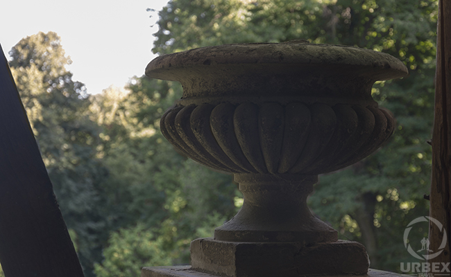 an ancient vase in an abandoned palace