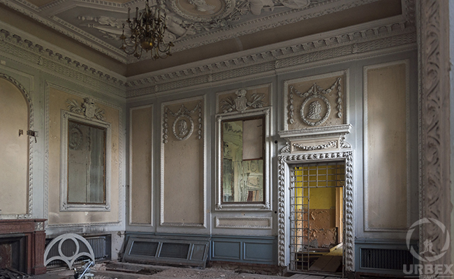 ballroom in an abandoned palace in Poland